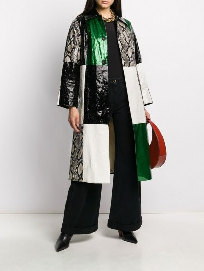 STAND STUDIO snakeskin print patchwork coat - flipped