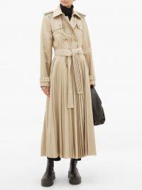 GABRIELA HEARST Stein pleated cotton-gabardine trench coat in beige | neutral coats