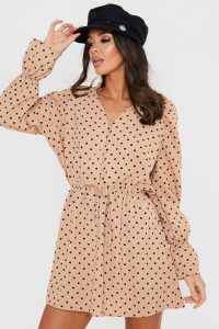 STEPHSA CAMEL POLKA DOT BUTTON DOWN DRESS