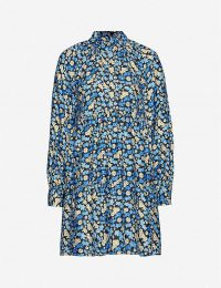 STINE GOYA Jasmine floral-print silk-twill mini dress in forgetmenot