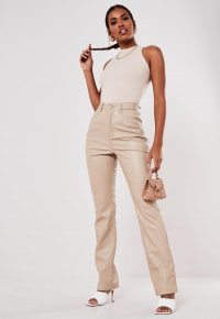 Missguided stone mock croc faux leather trousers | neutral pants