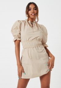 MISSGUIDED stone ruched waist puff sleeve mini dress – high neck dresses