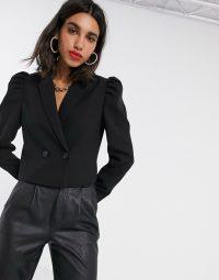 Stradivarius volume sleeve blazer in black | cropped jackets