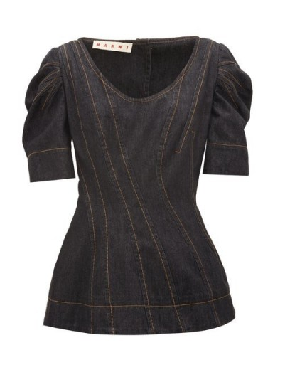 MARNI Structured sleeve black-denim top