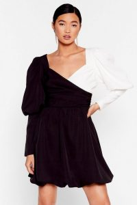 NASTY GAL Struttin' Our Puff Sleeve Wrap Dress in Black – mono dresses
