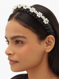 SIMONE ROCHA Studded crystal-embellished raffia headband in black