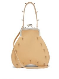 SIMONE ROCHA Studded leather handbag in beige / stud detail bag