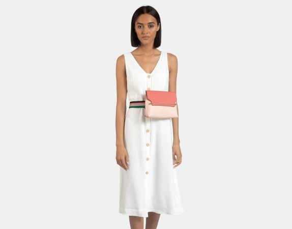 STRATHBERRY STYLIST BELT BAG in SOFT PINK/SALMON WITH RUBY EDGE