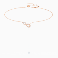 SWAROVSKI INFINITY Y NECKLACE, WHITE, ROSE-GOLD TONE PLATED ~ crystal necklaces