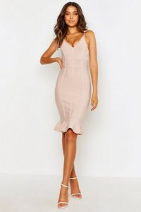 Boohoo Tall Bandage Frill Hem Midi Dress Nude – fitted dresses