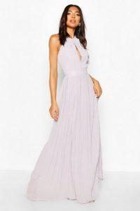 Boohoo Tall Halterneck Maxi Dress Grey