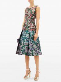 MARY KATRANTZOU Talon metallic floral-jacquard dress – sleeveless multicoloured fit and flare