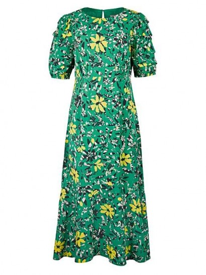 OLIVER BONAS Textured Bloom Floral Print Green Midi Dress
