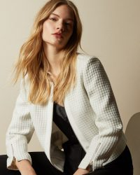 TED BAKER JENNIAH Textured cropped jacket in ivory