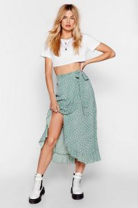 Nasty Gal That's Tie-ght Floral Midi Skirt in Green