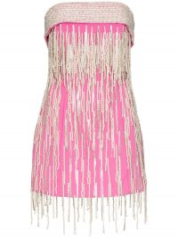 THE ATTICO strapless crystal fringed mini dress in pink