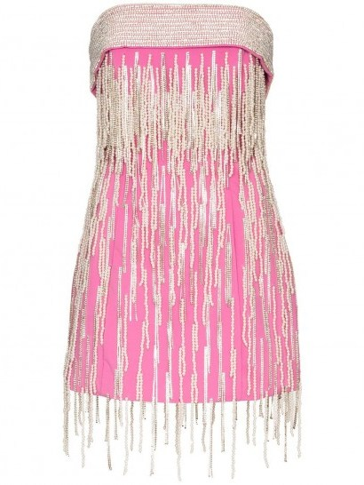 THE ATTICO strapless crystal fringed mini dress in pink - flipped