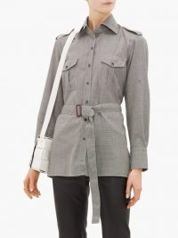 GIULIVA HERITAGE COLLECTION The Aurora belted houndstooth wool-twill shirt