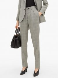 GIULIVA HERITAGE COLLECTION The Husband houndstooth virgin-wool trousers in grey / front pleated suit trousers