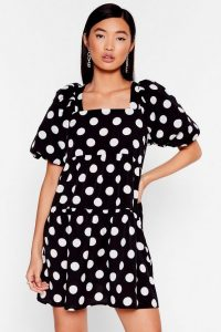 NASTY GAL The Night's Dot Over Yet Puff Sleeve Mini Dress in Black
