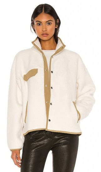 The North Face Cragmont Fleece Jacket in Vintage White & Kelp Tan - flipped