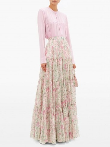 GIAMBATTISTA VALLI Tiered floral-print silk maxi skirt – ivory – matches fashion - flipped