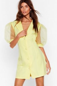 Time to Puff Sleeve Mini Blazer Dress in Lemon