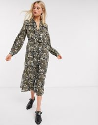 Topshop Tall paisley ruffle shirt dress in multi