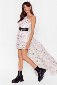 NASTY GAL Train Supreme One Shoulder Floral Dress in Cream
