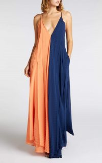 ROLAND MOURET TUSI GOWN in CLEMENTINE / NAVY ~ floaty boho style event gowns
