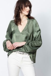 Zadig & Voltaire TWENTY SATIN TOP in Khaki – green ruched sleeve blouse