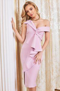 LAVISH ALICE twisted ruffle midi dress in lilac