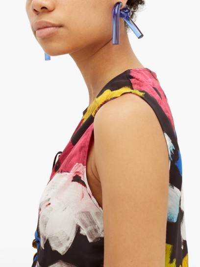 COLVILLE Twisted-tube blue-acrylic earrings / sculptural tube design