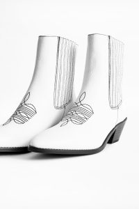 Zadig & Voltaire TYLOR GRAINED ANKLE BOOTS in White