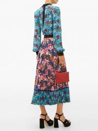MARY KATRANTZOU Uni rose-print pleated crepe midi skirt – pink and blue floral skirts