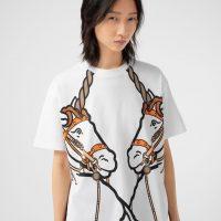 Burberry Unicorn Print Cotton Oversized T-shirt in White | printed unicorns
