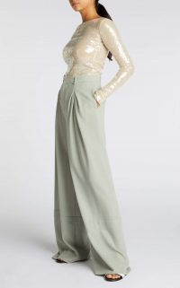 ROLAND MOURET VALENS TROUSER in SAGE ~ floaty wide leg trousers