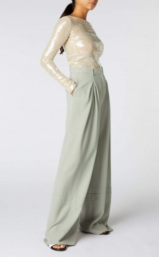 ROLAND MOURET VALENS TROUSER in SAGE ~ floaty wide leg trousers - flipped