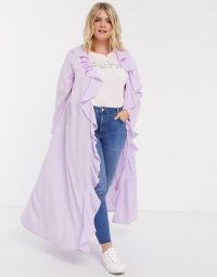 Verona Curve maxi duster jacket in lilac | wide sleeve kimono look jackets