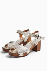 TOPSHOP VERONICA Gold Leather Clog Shoes / metallic cloggs