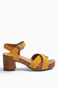 TOPSHOP VERONICA Mustard Leather Clog Shoes / yellow strappy cloggs