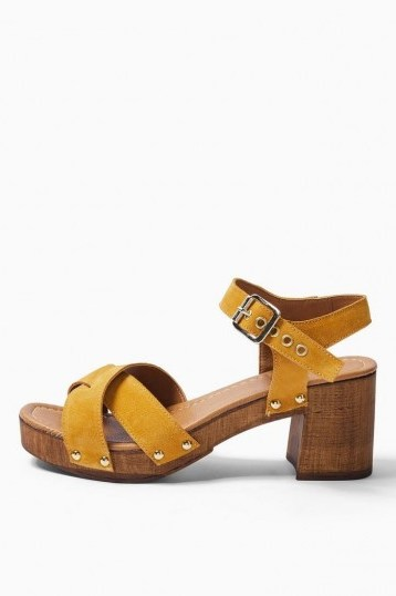 TOPSHOP VERONICA Mustard Leather Clog Shoes / yellow strappy cloggs - flipped