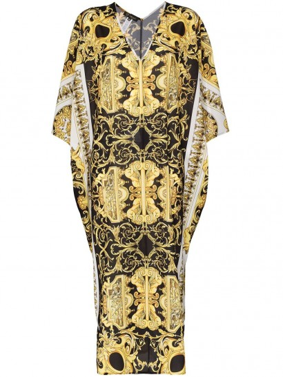 VERSACE Baroque print maxi kaftan dress in black and yellow
