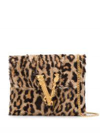 VERSACE Virtus leopard print clutch / faux fur bags