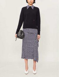 VICTORIA BECKHAM Houndstooth-print high-waisted woven skirt in navy / white | smart asymmetric skirts