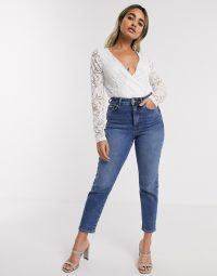 Vila Petite lace body in white – plunging wrap style bodysuits