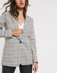 Vila tailored blazer in grey check / smart checked jackets