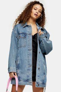TOPSHOP Vintage Wash Super Oversized Denim Jacket – longline jackets