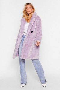 NASTY GAL Waiting Fur Tonight Faux Fur Longline Jacket in lilac