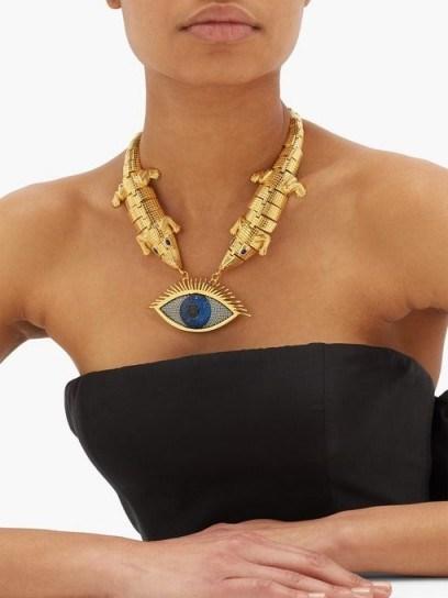 BEGUM KHAN Wallis 24kt gold-plated evil-eye necklace - flipped